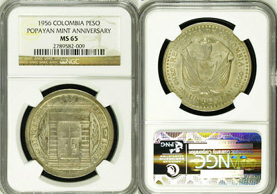 Colombia 1956 Silver Peso Coin NGC MS65 UnCirculated Popayan Commemerative