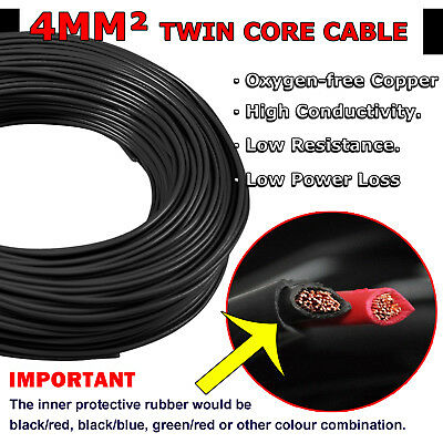 11AWG 4mm Twin Core Wire 11B&S Dual Sheath Battery Cable 12V 4x4 Caravan Marine