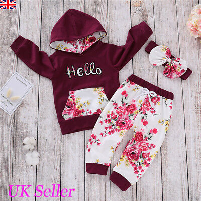 Toddler Baby Girls Hooded Tops Pants Kids Winter Clothes Outfits Sets Tracksuit