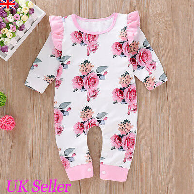 UK Baby Girls Fly Sleeve Romper Bodysuit Jumpsuit Infant Floral Outfits Clothes