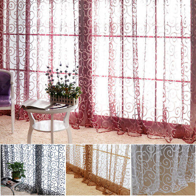 US Floral Tulle Voile Door Window Curtain Drape Panel Sheer Scarf Valances Hot