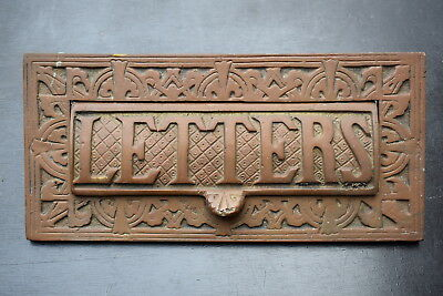 Old Reclaimed Solid Brass Letter Box post box letterplate mail front door