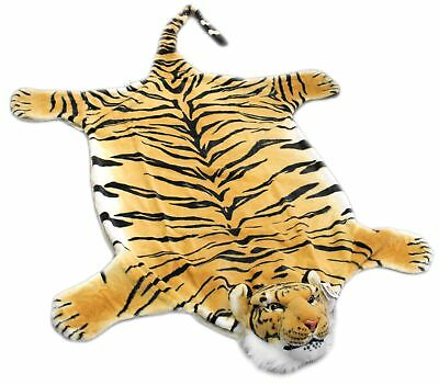 Extra Large Giant Plush Tiger Skin Faux Fur Rug - Gold