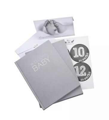 Unisex Linen Wrapped Baby Memory Book Journal with Monthly Stic... Free Shipping