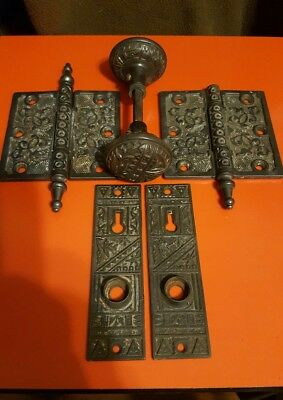 Vintage Engraved Door Knob and hinges and Back Plates