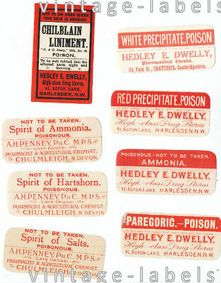 Vintage Old Red Chemists Poison Labels From Harlesden N London Chulmleigh  Devon