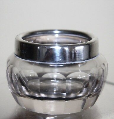 Antique Hallmarked London 1916 Silver Rim Cut Glass Salt