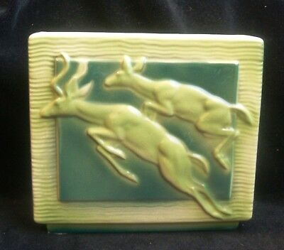 Vintage Royal Copley Chartreuse Lime Dark Green Planter Leaping Deer Planter