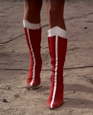 Wonder Woman Lynda Carter Suede Boots Red Superheroine