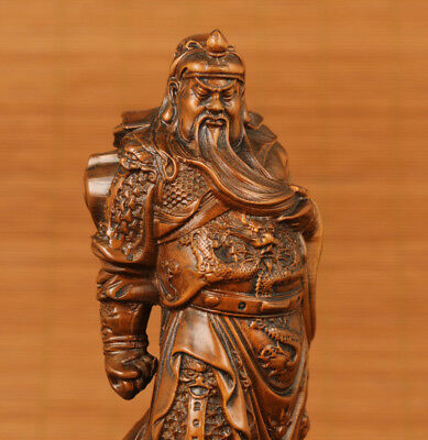 Rare Japanese  Boxwood Collection hero guan gong Statue collection home decorati