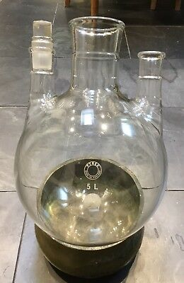 Vintage Industrial 5L 5000ml 3 Neck Pyrex Lab Glass Round Bottom Boiling Flask 2
