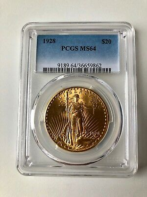 1928 $20 St Gaudens Gold Double EaglePCGS MS64