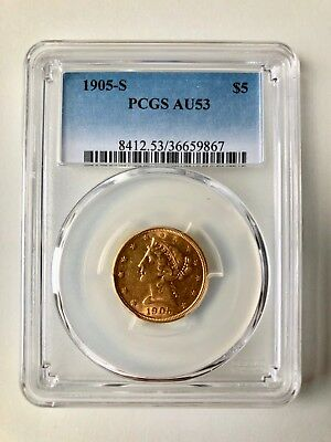 1905-S $5 Liberty Gold Half Eagle PCGS AU53