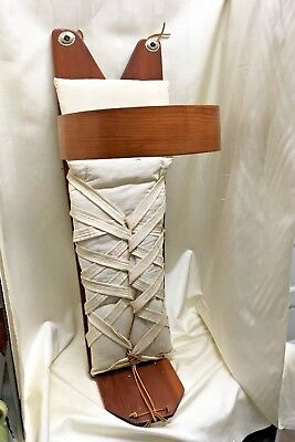 """36"""" Native American Wooden Navajo Papoose Baby Cradleboard with Swaddle Bed"""