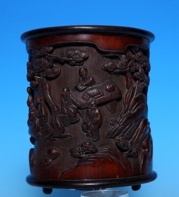 Wonderful Exquisite Rare Old Chinese Hand Carved Figures Bamboo Brush Pot US300