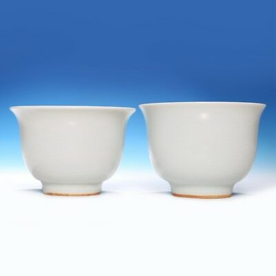 Pair of Exquisite Chinese Porcelain White Glaze Cup Mark Chang Feng Xuan FA1053
