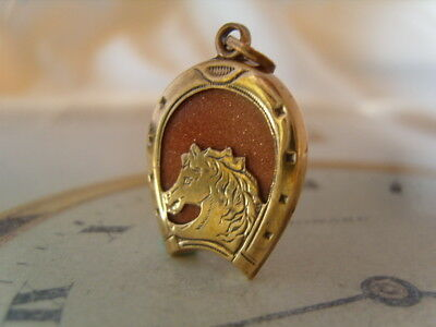 ANTIQUE POCKET WATCH CHAIN FOB VICTORIAN 1890s BRASS & GOLDSTONE HORSE HEAD FOB