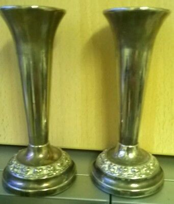 2 x SILVER PLATED SINGLE FLOWER VASES /CANDLESTICKS