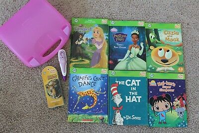 Lot of 6 Leap Frog Leap Tag Reader Books, Purple Pen, Carrying Case , Animals
