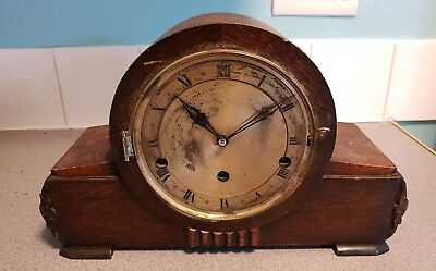 Antique Wooden Chiming Mantle Clock - For Restoration
