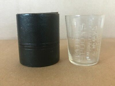 Antique Early 1900's Etched Medicine Dose Glass / Original Container