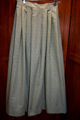 Girls' or Petite 19th Century Skirt Pioneer, Victorian, Civil War Green Calico