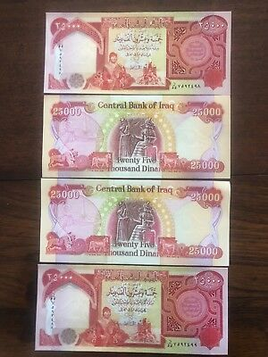 100,000 Iraqi Dinar (4) 25,000 Notes  Uncirculated!! Authentic! Iqd
