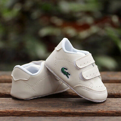 Baby Boy Girl White Sneakers Pram Shoes Infant Trainers Size Newborn to 18 Month