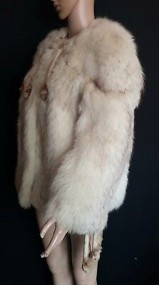Vintage 1970s Real Arctic Fox Fur Jacket with Brown Tips