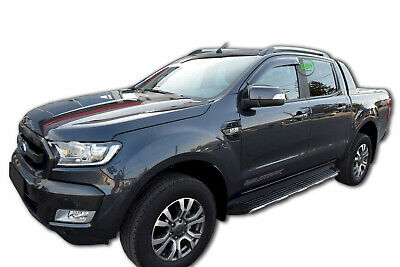 FORD RANGER T5 T6  2012-up ADHESIVE WIND DEFLECTORS 4pc TINTED SCOUTT