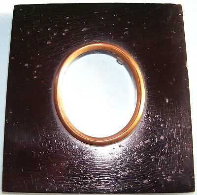 Antique Edwardian Miniature Ebonised & Brass Picture Frame Convex Glass C.1900