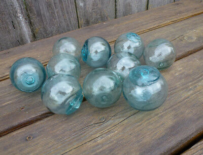 """Vintage Japanese Round Glass Fishing Floats, 2"""", Lot of 10"""