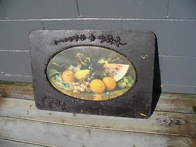 Antique Wood Carved Oval Frame with Old Fruit Picture. Gingerbread Trim
