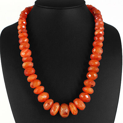 790.00 Cts Natural Faceted Rich Orange Carnelian Beads Necklace Strand