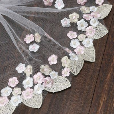 1yd Lace Ribbon Floral Embroidered Lace Edge Trim Wedding Applique Sewing Craft