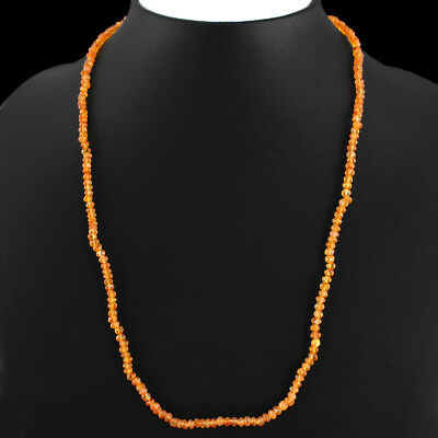 Rare 47.05 Cts Natural Orange Carnelian Round Shape Faceted Beads Necklace