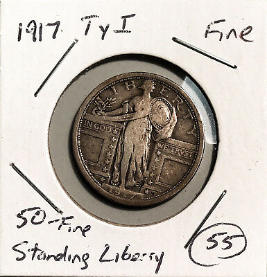 1917 Type 1 15c Standing Liberty Quarter F Key Date No Minimum Auction