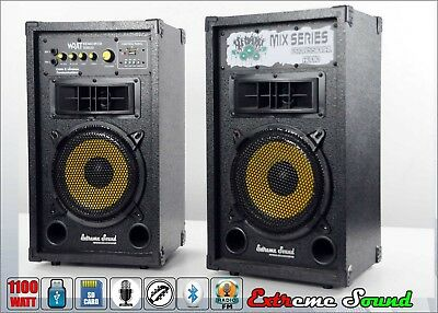 Coppia Casse Amplificate 1100 W Usb Sd Bluetooth Karaoke Dj Extreme Sound Mix-01
