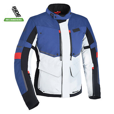 Oxford Mondial Advanced Motorcycle Waterproof CE Jacket - Grey Blue & Red