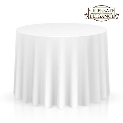 """OPEN BOX - 10 Pack 132"""" Round Wedding Banquet Polyester Fabric Tablecloths-White"""
