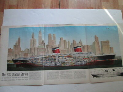 S.S. UNITED STATES cross-section foldout from 1952 LIFE magazine