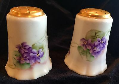 Antique Germany Hand Painted Porcelain Salt & Pepper Shakers VIOLETS tons O Gold