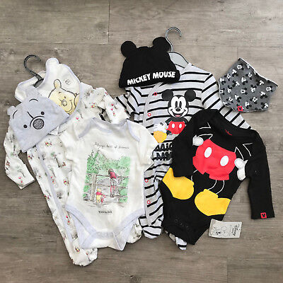Baby Boy 0-9 Months Mickey Mouse / 101 / Dumbo 4 Piece Set Babygrow Vest Hat Bib