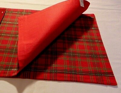 """2 Christmas Paid Tartan Placemat SET NEW RED 13x18"""" Gold Sparkle NWT Fabric"""