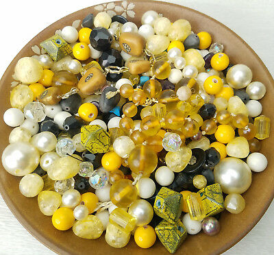 Pound VTG Large Mixed Lot Brown Gold Glass Crystal Celluloid Faux Pearls BEADS