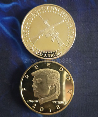NEW 1PC US 2018 President Donald Trump Gold Plated Commemorative Coin&1
