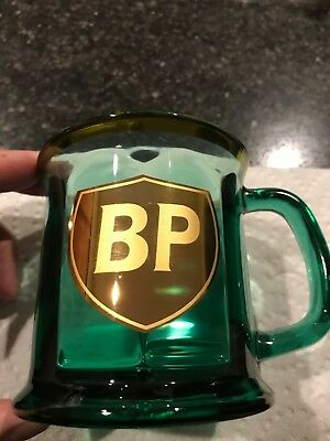 Presidential Collection BP oil glass mug collectible Gold Shield on Green Glass