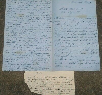 1859 Letter D'love Furore Actress Clementine Carter From Rome To Tommaso Salvini