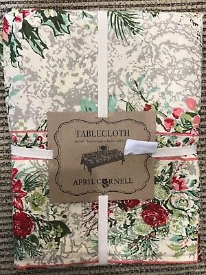 April Cornell 60 X 104 Inch Tablecloth Cream Gray Green Pink Floral  Nip