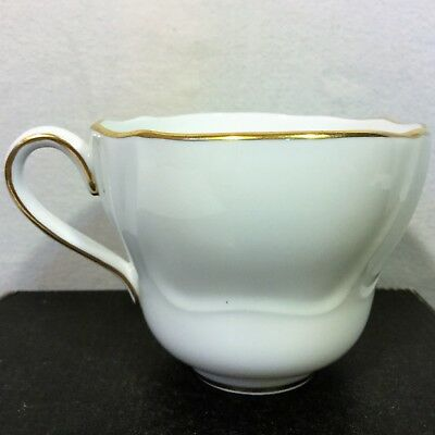 SPODE Bone China TEA CUP Nordic White Scalloped Gold ENGLAND 16716 F Vintage
